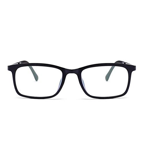 Shiduoli Rechteckige Brillenfassung für Damen und Herren (Color : Black)
