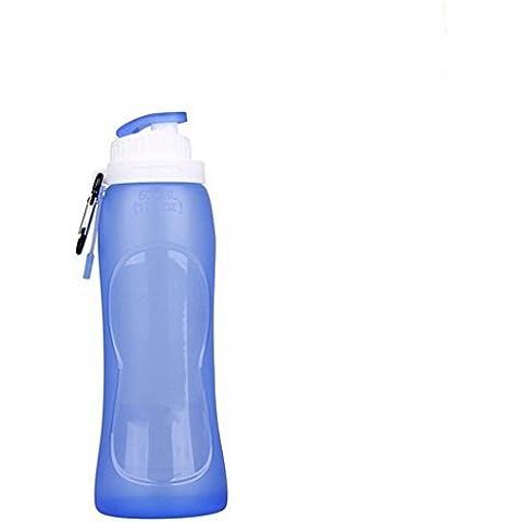 myguru (500ml) plegable para exterior Deporte Aprobado por la FDA silicona sin BPA botellas de agua Hervidor de agua de viaje Los niños botella de agua plegable para viajar senderismo Correr (Blanco) Azul