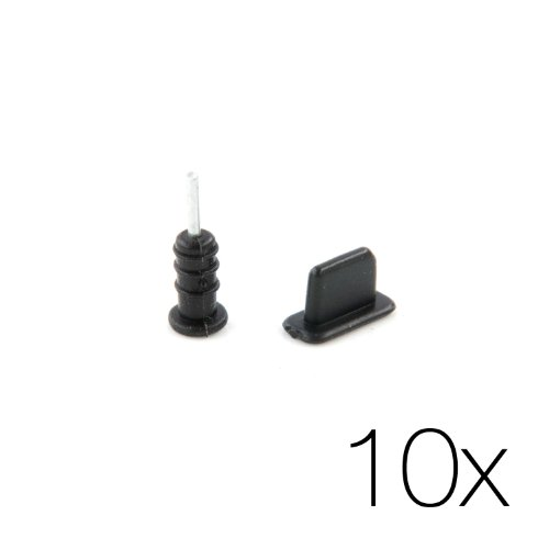 10x Schutzstöpsel Set schwarz - 10 Paar Stecker Dust Plug für Kopfhörer und Lightning Stecker Staubschutz für Apple iPhone 5/5s/5c/SE, 6/6s, /6s Plus, iPhone iPad Air, iPad Mini 1-4 von MC24