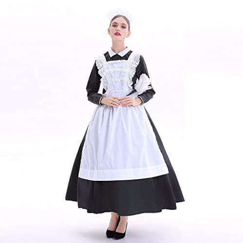 KaloryWee Damen Halloween Farm Maid Kostüm Stage Cook Kostüm Kleid Herbstkleid Kochkleidung Bühnenkostüm Kleid Costume Dress for Women Kleid + Schürze + Kopfbedeckung