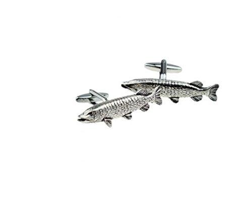 Hecht Fisch Code F40Paar Manschettenknöpfe aus feinem englischen Moderne Zinn geschrieben von uns Geschenke für alle 2016von Derbyshire UK