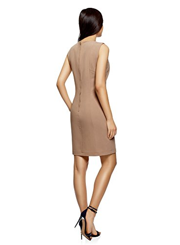 oodji Collection Damen Ärmelloses Kleid Basic Beige (3500N)