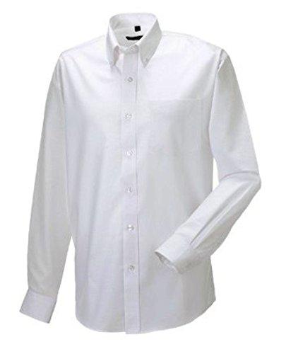 Russell Collection! Pflegeleichtes Langarm Oxford Hemd auch in Übergrößen XXL,White (Hemd Oxford Herren)