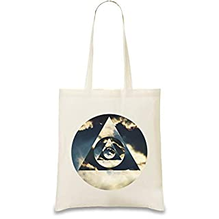 Illuminati-Hipster-Dreieck - Illuminati Hipster Triangle Custom Printed Tote Bag| 100% Soft Cotton| Natural Color & Eco-Friendly| Unique, Re-Usable & Stylish Handbag For Every Day Use| Custom