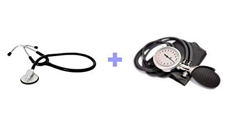High Quality Stethoskop SCHWARZ + Premium 2-Schlauch Blutdruckmessgerät (Premium Stethoskop)
