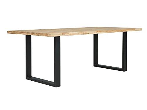 massivum Esstisch Camano 180x90 cm aus Eiche Massiv-Holz geölt mit Gestell Metall schwarz lackiert Esszimmer-Tisch