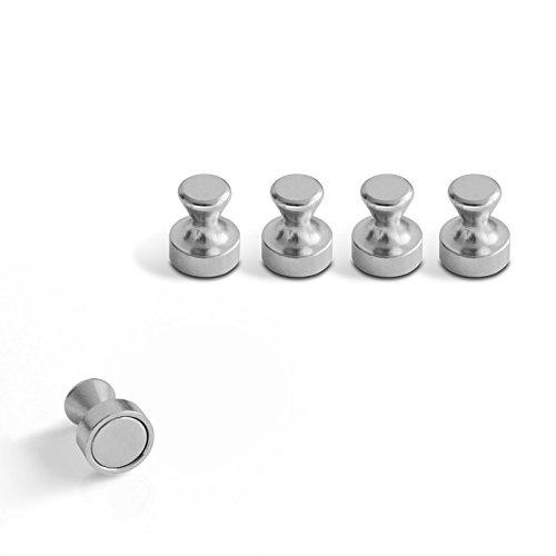 Edelstahl Kegelmagnet im praktischen Set (5, 10 oder 20 Stück) | Neodym Magnet für starke Haftkraft | Design Magnet Pins im Metall Look für Büro, Küche, Bad, Werkstatt | günstige Setgrößen zur Auswahl ( 10er Set ) (Magnetische Spind-zubehör)