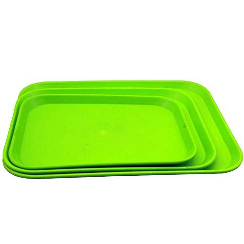 BSTLY Restaurante del hotel Restaurante de comida rápida Bandeja de comida rápida Plástico rectangular Comida rápida Plato verde 1014 (35 * 25 cm)