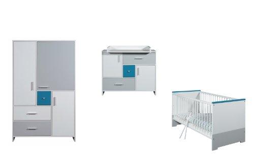 (Schardt Kinderzimmer Candy Blue bestehend aus Kombi-Kinderbett, Umbauseiten, Wickelkommode, 3-türiger Kleiderschrank)