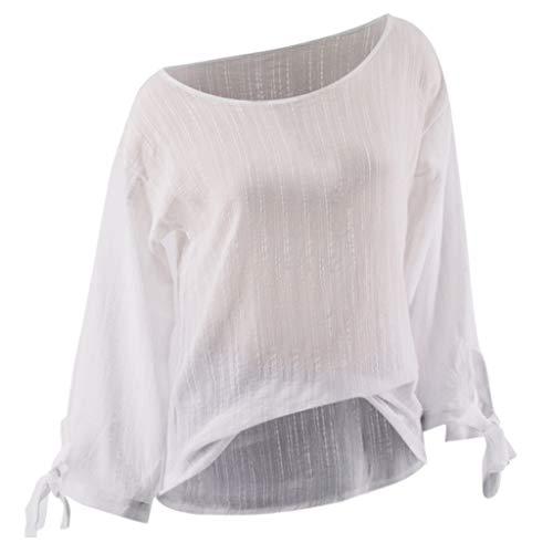 TAMALLU Damen T-Shirts Mode Lässig O-Neck Übergröße Lange Ärmel Tunika(Weiß,XL)
