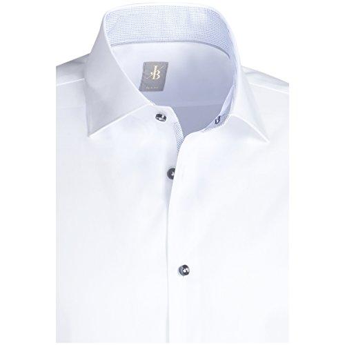 JACQUES BRITT Business Hemd Slim Fit 1/1Arm, extra lang Bügelleicht Uni / Uniähnlich  CityHemd KentKragen Manschette weitenverstellbar weiss 0001