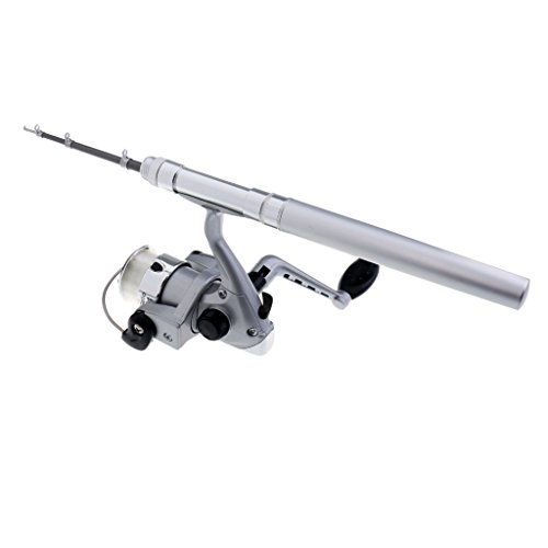 MagiDeal Alu Mini Angelrute Teleskopruten Fliegenrute Kugelschreiber mit Angelrolle Set - Silber