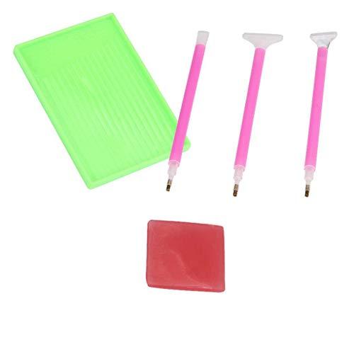 Lidahaotin 5Pcs / Set Diamant-Painting-Kreuz-Stich-Tool-Kit Punkt Drill Pen Kleber Plastikbehälter-DIY 1 9 * 6cm