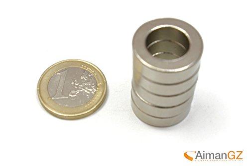 5.6 Block (10Neodym-Magneten Aro, interner Durchmesser von 20mm Durchmesser x 10mm auf 5mm dick, 5,6kg Kraft.)