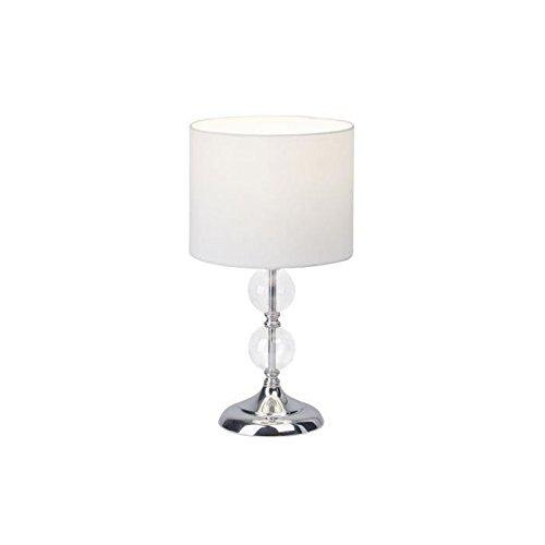 Brilliant Tischleuchte, Metall, E27, 60 W, Chrom / Weiß, 20 x 20 x 38 cm