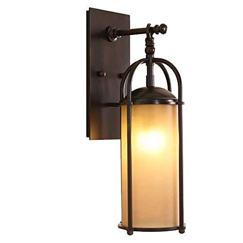Außen Wasserdichte Outdoor Wandlampe Vintage Außenwandleuchte Eisen Glas Lampenschirm Innen Aussen Laterne Wandleuchte E27 Zylindrisch Design Hoflampe Beleuchtung IP44 (Rost Rot) Park-designs, Eisen