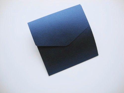 Piccolo quadrato 122x 125mm Lapislazzuli Blu Navy perlescente libro Fold matrimonio inviti, formato-Confezione da 5Libro Fold inviti e buste bianche 100g/mq