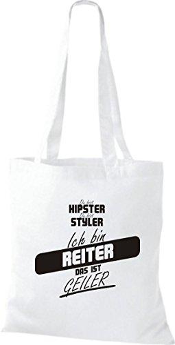 Shirtstown Stoffbeutel du bist hipster du bist styler ich bin Reiter das ist geiler weiss