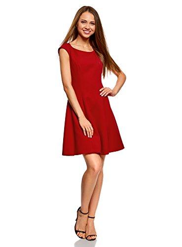 oodji Ultra Damen Kleid aus Festem Stoff mit Oval-Ausschnitt, Rot, DE 36 / EU 38 / S (Polyester Damen Rock)