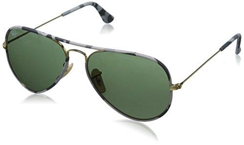 Ray Ban Unisex Sonnenbrille Aviator, Mehrfarbig (Gestell: Gold/bunt,Gläser: grün Klassisch 171), Large (Herstellergröße: 55)
