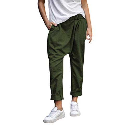 WOZOW Baggy Hosen Damen Haremshose Pumphose Bettwäsche Baumwolle Casual Long Lang Loose Lose Solid Einfarbig Tapered Jogginghose Laufhose Sweathose Sporthose Low Waist Saggy Yoga Trousers