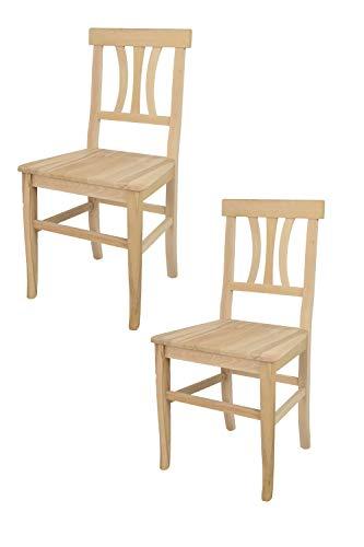 Tommychairs sedie di design - set 2 sedie classiche artemisia per cucina, bar e sala da pranzo, con robusta struttura in legno di faggio levigato, non trattato, 100% naturale e seduta in legno