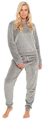 Slumber Hut® Damen Fleece Pyjama Luxus Vlies Damen Grau Geprägte Muster PJs Loungewear Frauen Schlafanzug - EUR 48-50