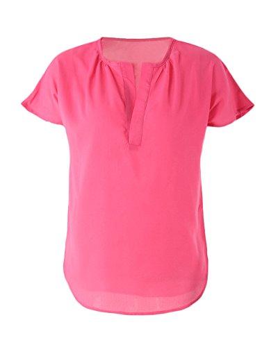 Romacci Damen Solid Bluse V-Ausschnitt Kurzarm Unregelmäßigen Saum Top Shirt Rose