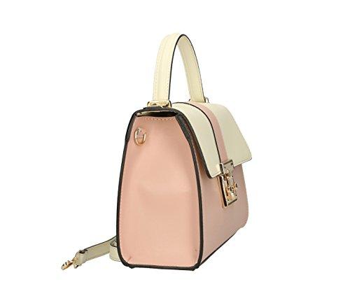 Frauen klassische Handtasche Henkeltasche Schultertasche aus echtem Leder, Hergestellt in Italien 27x19x11cm Beige-Rosa