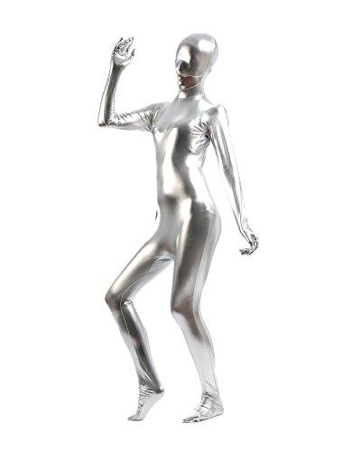 Gladiolus Erwachsene Kostüme Herren Shiny Einteiler Overall Ganzkörperanzug Faschings Anzug Silber - Silber Unitard Kostüm