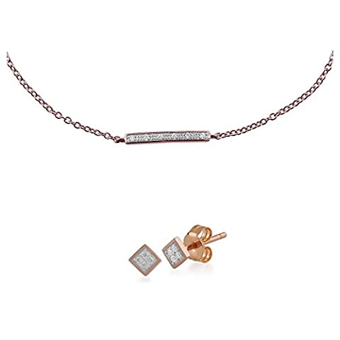 Gemondo 9ct Rose Gold Nasenstecker Diamant Quadratisch Ohrstecker Ohrring und Nasenstecker Diamant Armband (0,03 Ct Diamant-set)