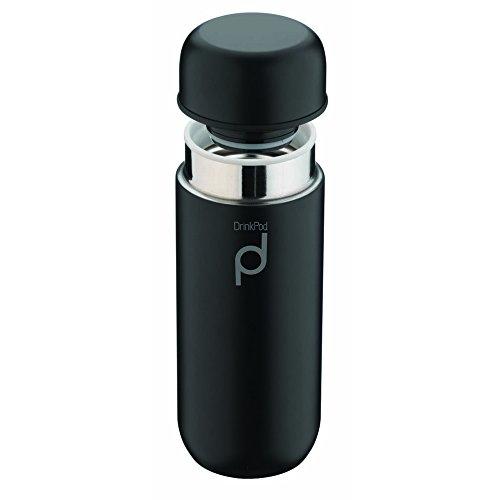 Grunwerg Pioneer Thermos DrinkPod in Acciaio Inox, Acciaio Inox 18/10, Nero, 0,2...