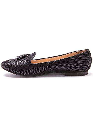 Balsamik - Slippers en cuir imprimé python, grande largeur - femme Noir
