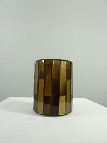 2 x Windlicht-Glas Mosaik Teelichthalter H9,8xD7,6cm Kerzenhalter Teelicht-Glas handgearbeitet Dekoration Tischdekoration (Braun-gold) -