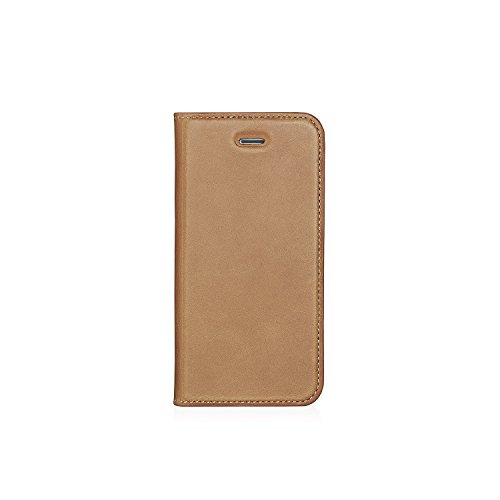 iPhone 5 Case Pipetto Magnetverschluss Wallet Case für iPhone 5/5S/SE [Medium] – PREMIUM Echt Leder mit 2 Kartenfächern und Ständer Funktion – Wallet Cover mit abnehmbaren Magnet Shell – Tan (Fall Tan-leder-karte)