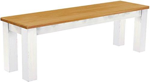 Esszimmer Nussbaum Bank (Brasilmöbel Sitzbank 'Rio Classico' 140 cm, Pinie Massivholz, Farbton Honig - Weiß)