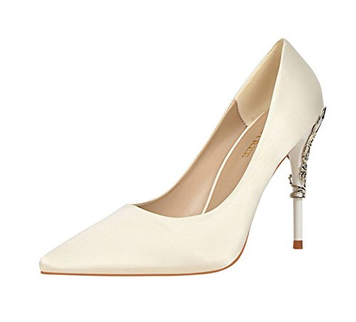 XINJING-S Bowknot High Heels Schuhe Party Hochzeit Frauen Pumps Heels OL Kleidung Schuhe Sandalen Weiß