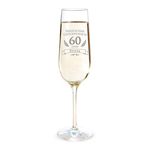 AMAVEL Sektglas mit Gravur zum 60. Geburtstag - Personalisiert mit [Namen] - Sektflöte als Geburtstagsgeschenk - Geschenkidee für Frauen - Glas für Sekt, Champagner und Prosecco - Sektkelch