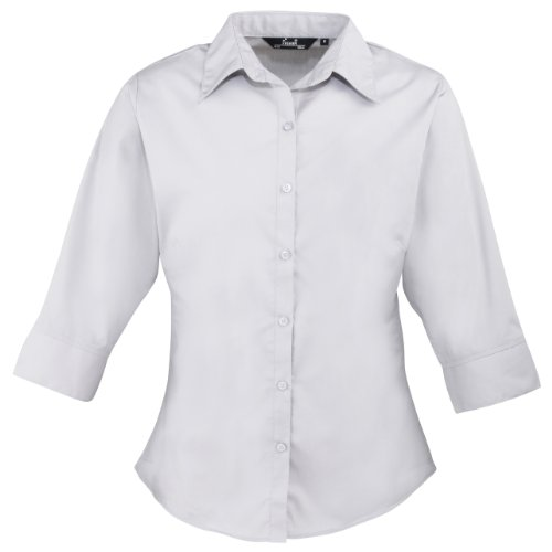 Popeline Uniform (Damen-Bluse/Arbeitshemd, Popeline, 3/4-Ärmel Gr. 44, silber)