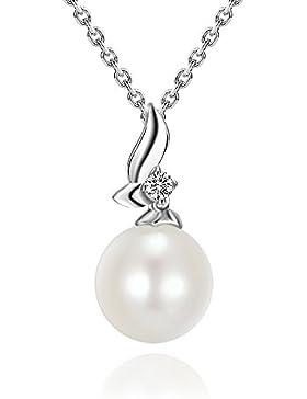 Halskette Damen Perle Kette Nickelfrei 925 Sterling Silber - 5A Zirkonia Stein - 45CM Perlenkette Silber Anhänger...