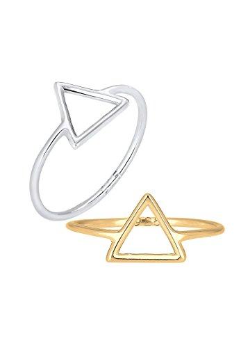 Elli Damen-Ring Dreieck Geo Set Trend Blogger vergoldet silber 925 Gr. 52 (16.6) 0611211215_52