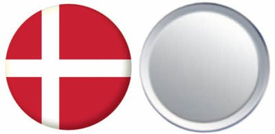 Miroir insigne de bouton Danemark drapeau - 58mm