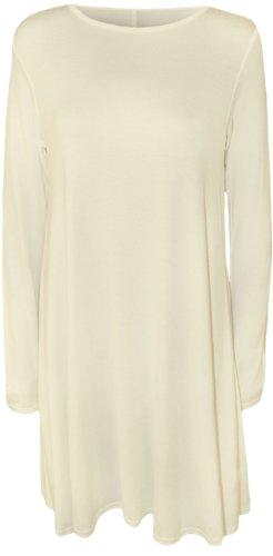 Baleza - Mini Robe Courte Femme Uni Jersey Manche Longue Evasé Crème