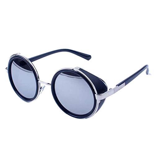 Demino Männer Frauen Steampunk Metallrahmen Runde Objektiv Sonnenbrillen Kreis Sonnenbrillen UV400 Schutzbrille Erwachsene Außen Brillen helles schwarzes, weißes, weißes Quecksilber 140 * 140 * 55mm