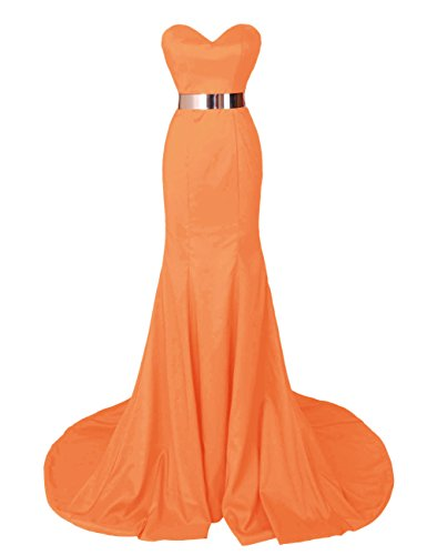 Dresstells, Robe de soirée Robe de cérémonie en satin forme sirène avec traîne Orange