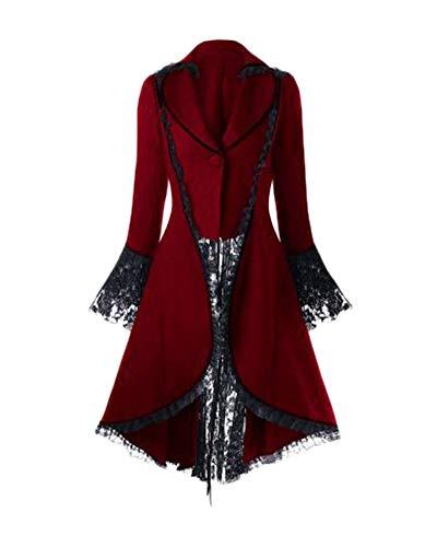 (DianShaoA Damen Renaissance Mittelalter Halloween Kostüm Viktorianisches Kleid Retro Partykleid Cocktailkleid Rot 2XL)