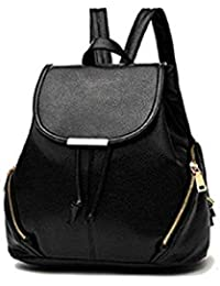 Pynk Fashion Leather Backpacks Students School bags for Girls Teenagers Travel  Rucksack Black Color Small Shoulder f8ee23c1a1aba