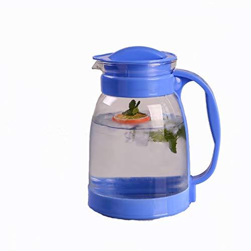 CHAHU Kaltwasserflasche große Kapazität Glas hohe Temperatur kühlen, weißen kochendem Wasser Teekanne Haushalt Saft Topf explosionsgeschützte Wasserflasche (Color : Blue) -