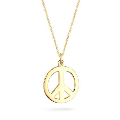 (Goldhimmel Damen-Halskette mit Anhänger Boho Peace Zeichen Hippie Festival vergoldet silber 925)