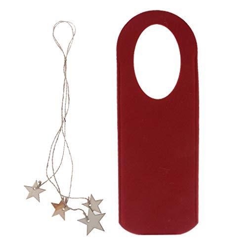 Baoblaze 4X Filz Weinflasche Abdeckung Deckel Tasche Beutel mit Holzsterne Anhänger - rot